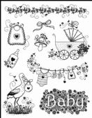 Viva Decor Clear Silicone A5 Stamp Set - Birth/Baby - 4003 039 00